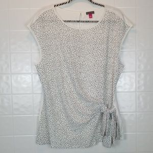Vince Camuto size large black/white tie front cami